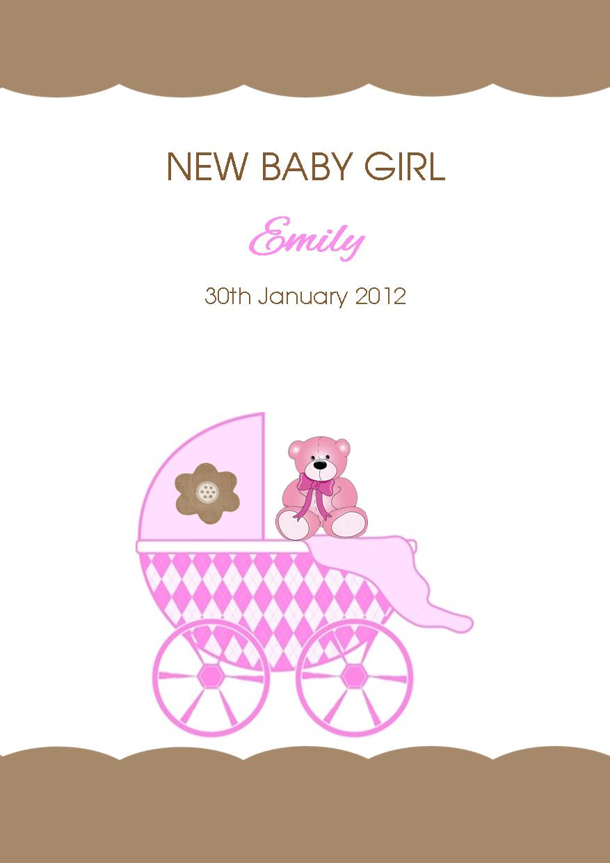 Brand new Personalised New Baby Girl Card Design 4 YW54