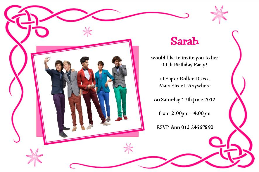 Personalised One Direction Invitations Design 1