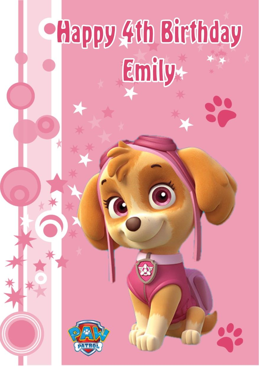 Personalised Paw Patrol Skye Birthday Card
