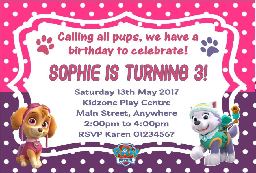 Personalised Paw Patrol Skye Everest Invitations 4582 P
