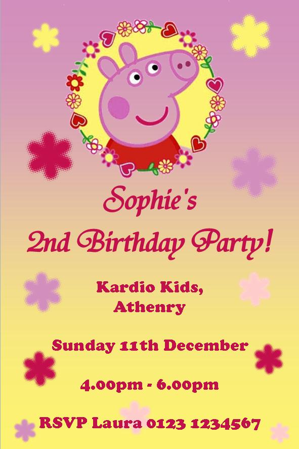 Personalised Peppa Pig Invitations Design 4 1912 P