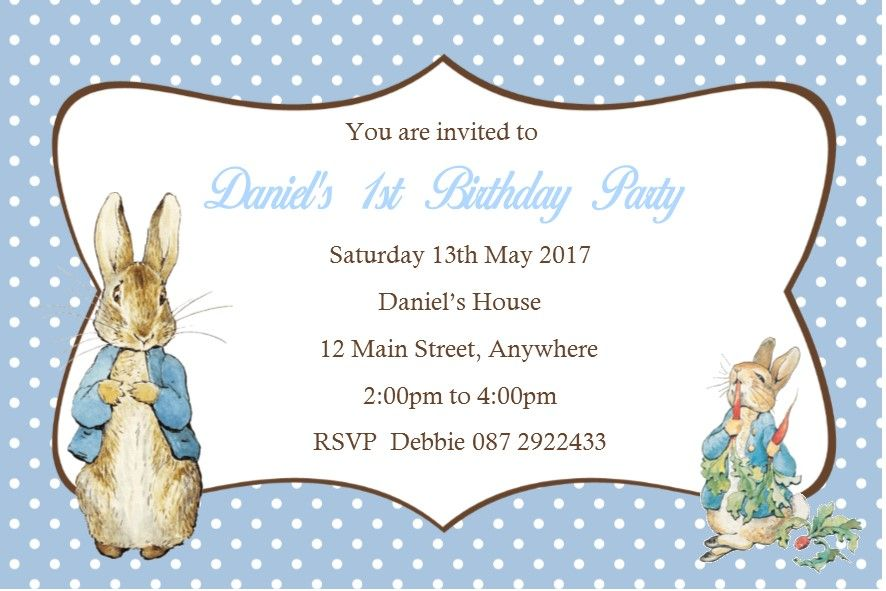 Personalised Peter Rabbit Invitations