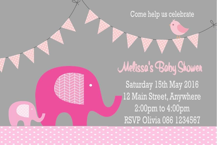 Personalised Pink Elephant Baby Shower Invitations