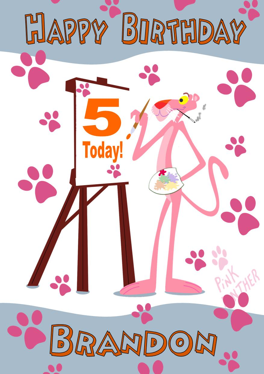 Personalised Pink Panther Birthday Card 66 P