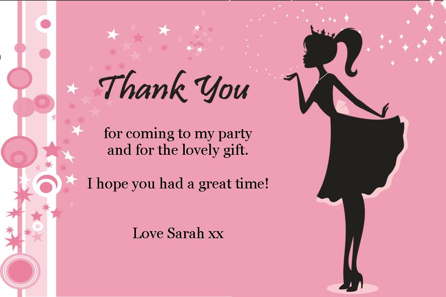 Personalised Pink Princess Thank You Cards