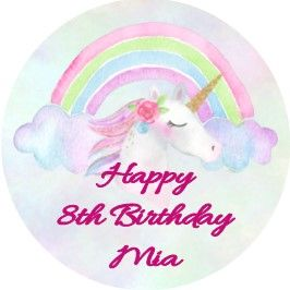 Personalised Pink Unicorn Cake Topper