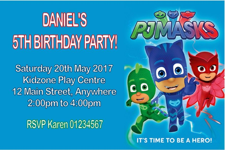 Personalised Pj Masks Invitations 4579 P