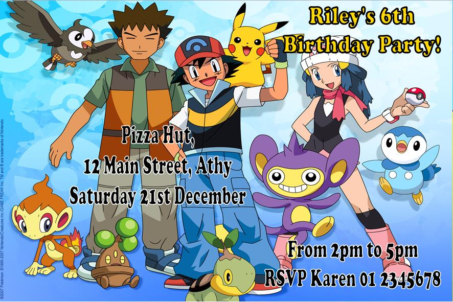 personalised pokemon invitations