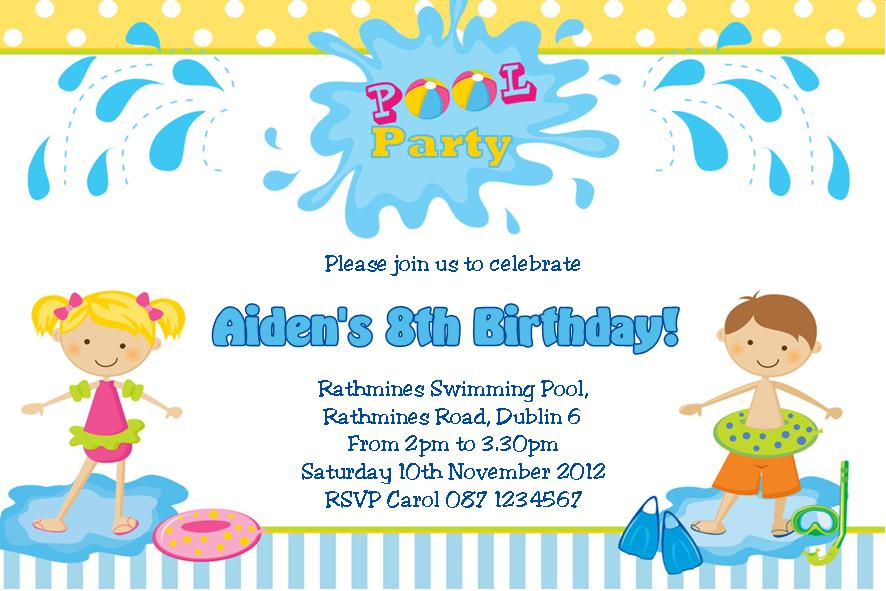 Personalised Pool Party Boy Invitations