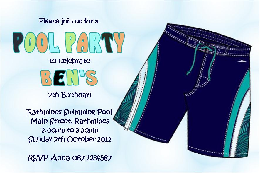 Personalised Pool Party Boy Invitations Design 2 1384 P