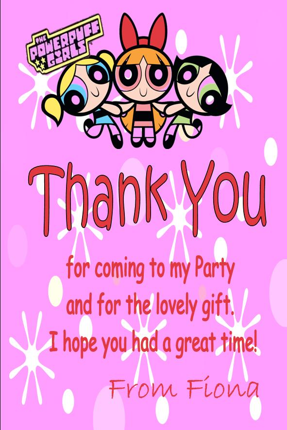 Personalised powerpuff girls thank you cards m4hsunfo