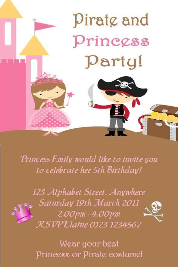 Personalised Princess And Pirate Theme Invitations