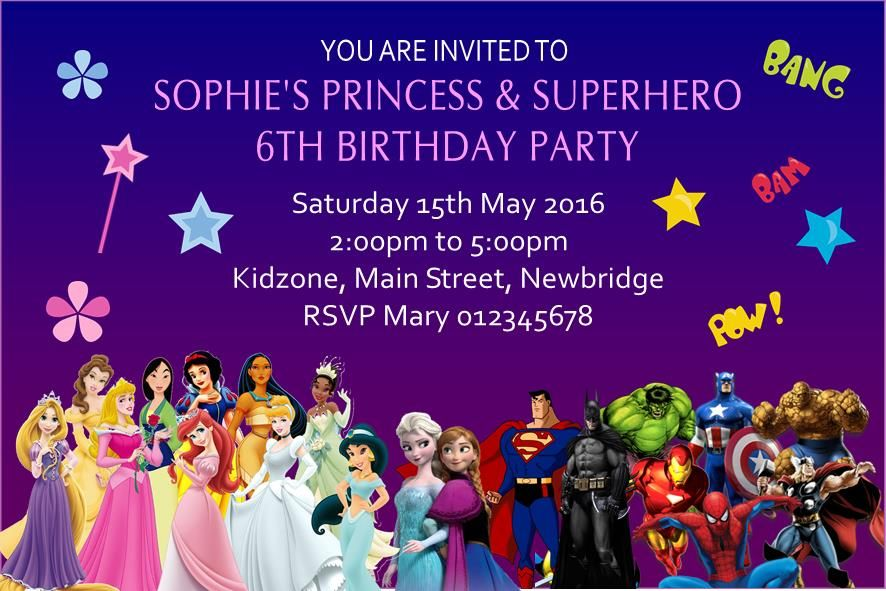 Princess Superhero Invitations