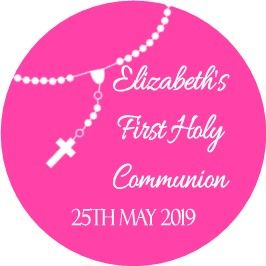 Personalised Rosary Beads Pink Communion Cake Topper