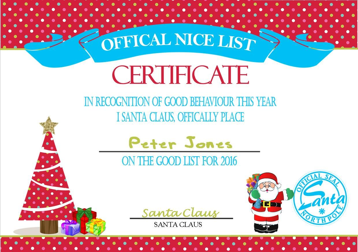 Personalised Santa S Nice List Certificate Design 4