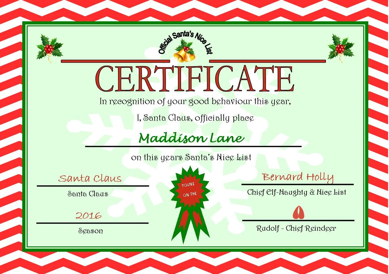 Personalised Santas Nice List Certificate Design 6
