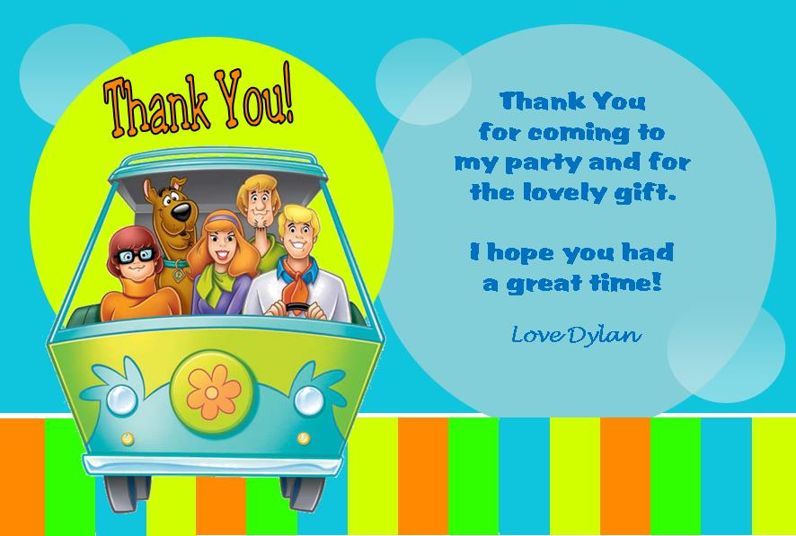 Personalised Scooby Doo Thank You Cards Design 2