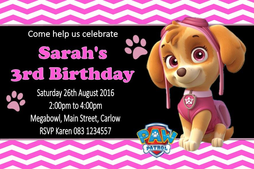 Personalised Skye Paw Patrol Invitations 4218 P