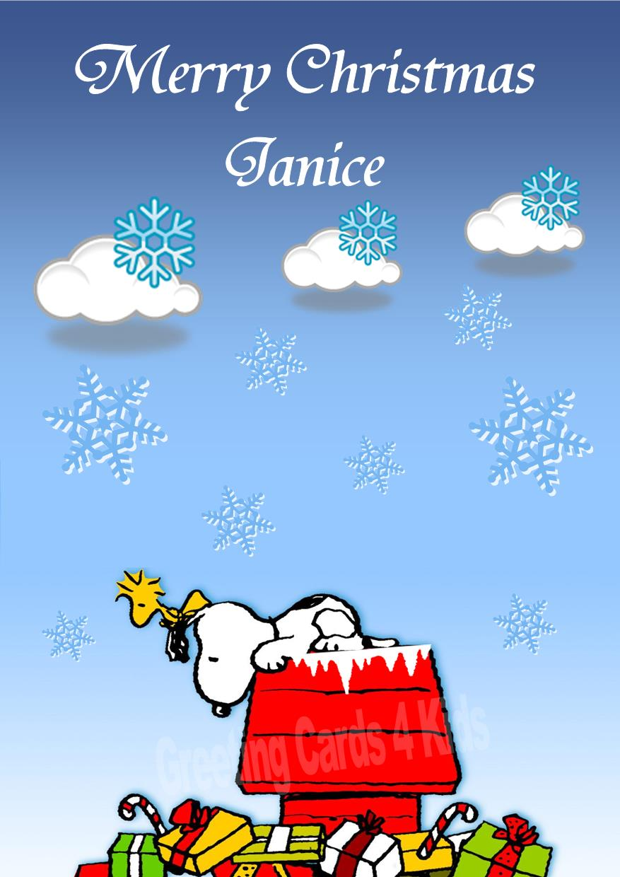 Christmas Snoopy.Personalised Snoopy Christmas Card