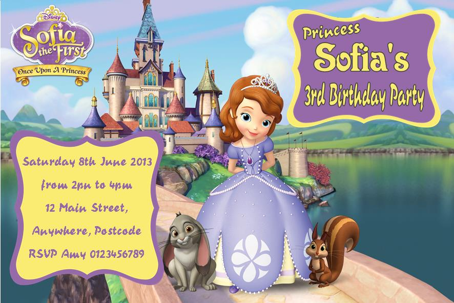Personalised Sofia The First Invitations