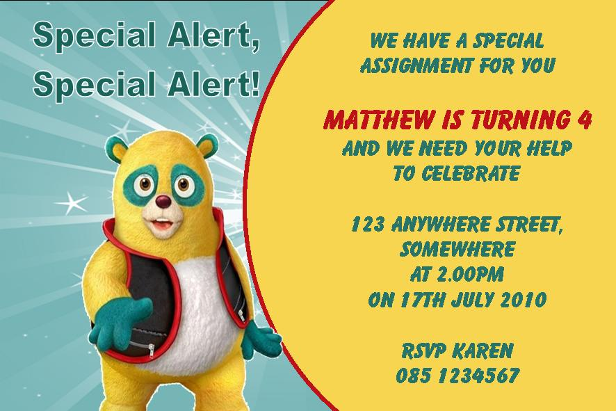 Personalised Special Agent Oso Invitations