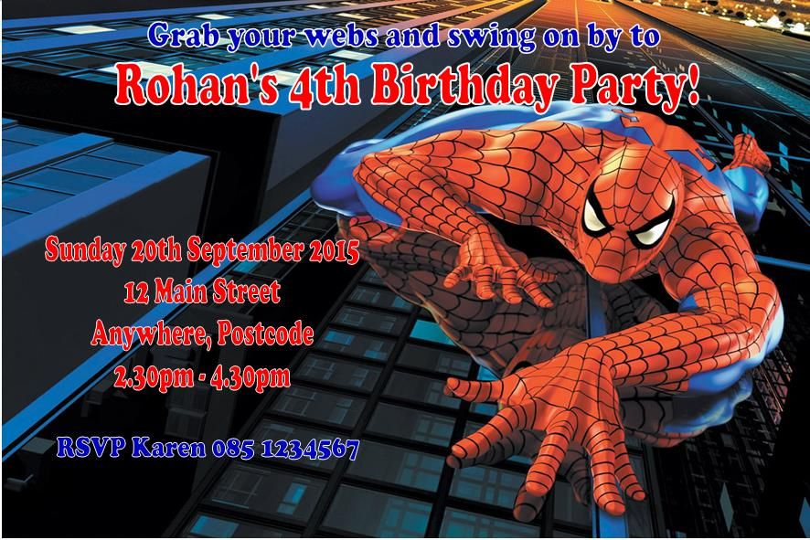 Personalised spider man invitations stopboris