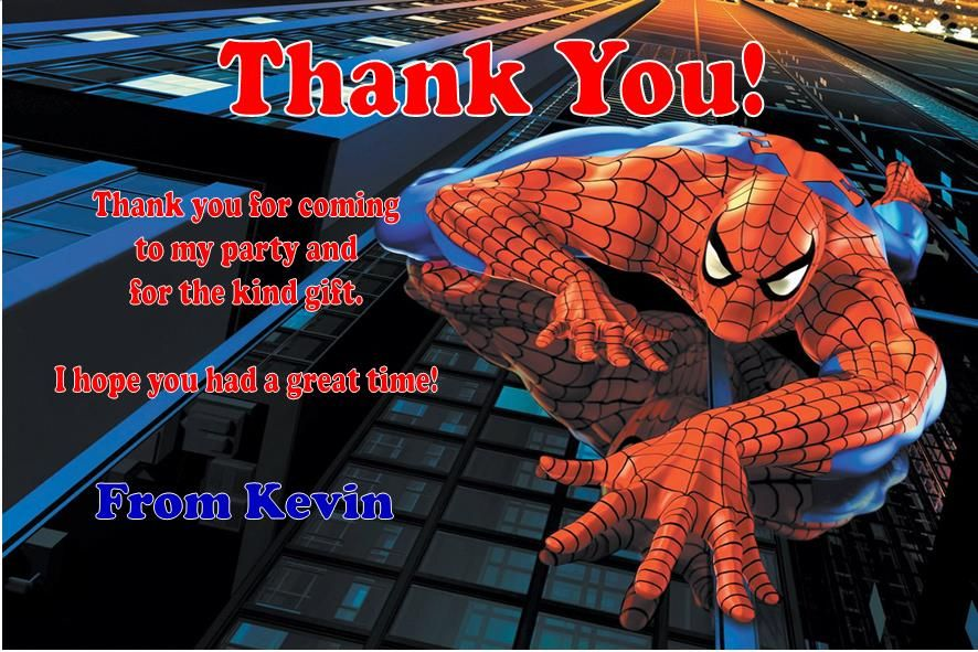 Personalised Spider Man Thank You Cards