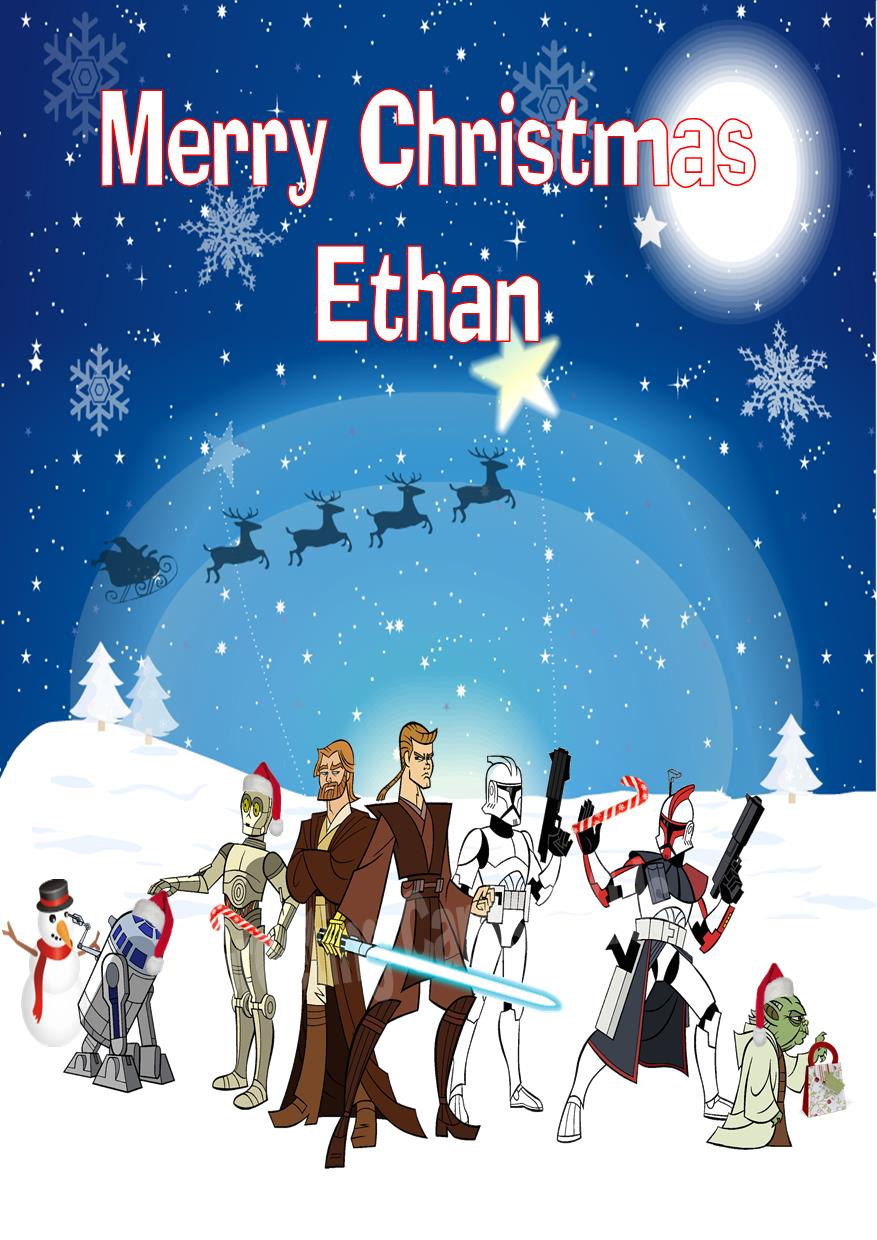 personalised star wars christmas card