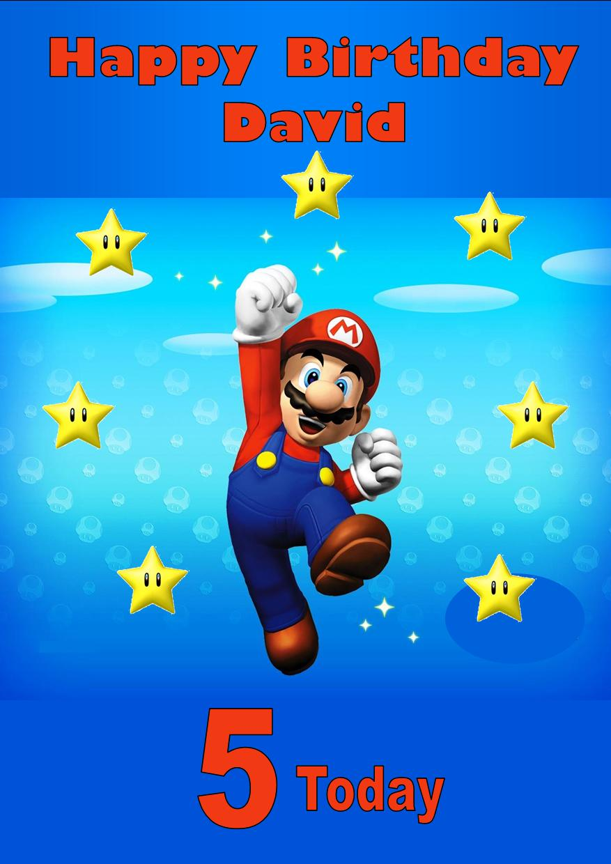 personalised super mario birthday card  2