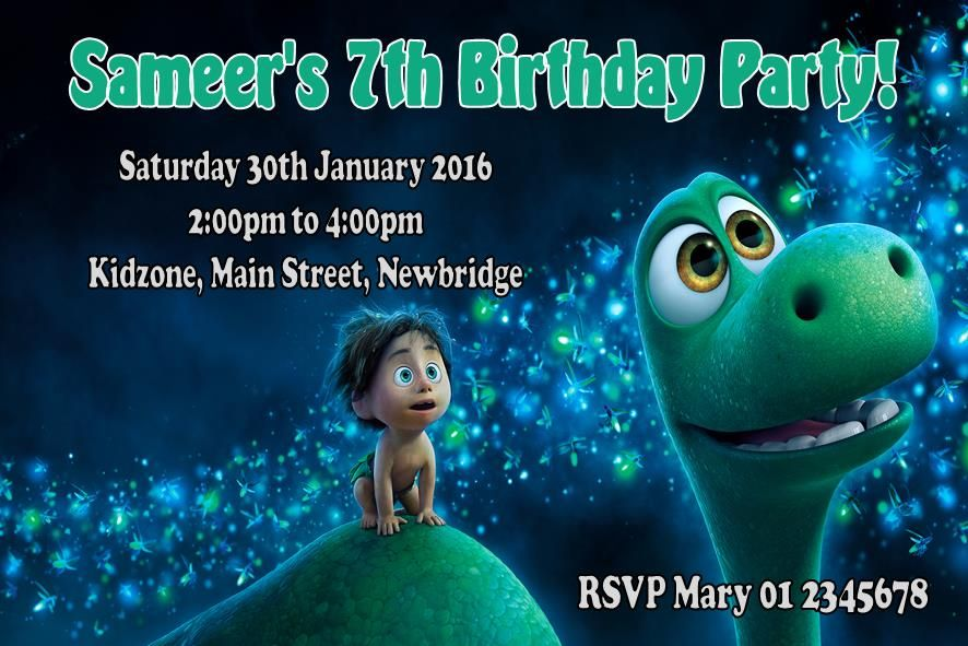 Personalised The Good Dinosaur Invitations 3305 P