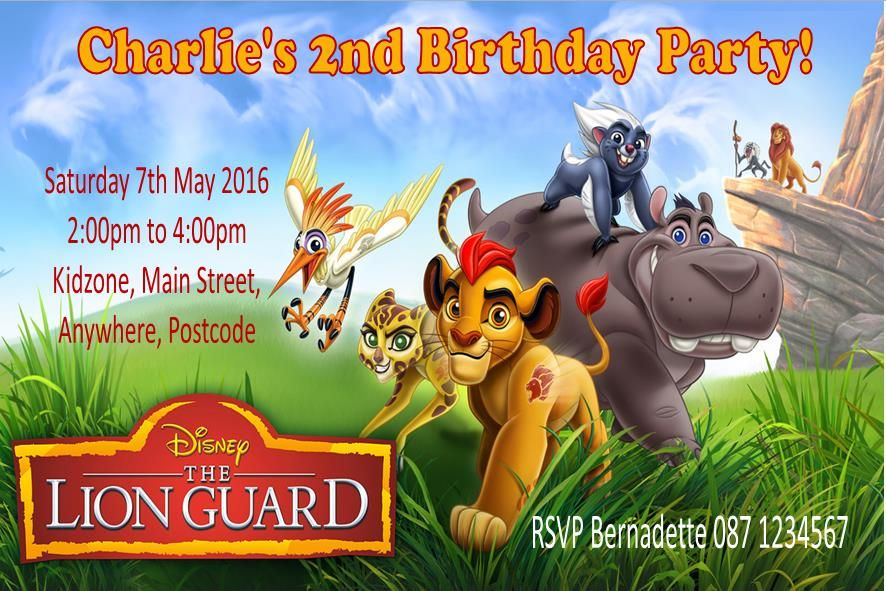 Personalised The Lion Guard Invitations