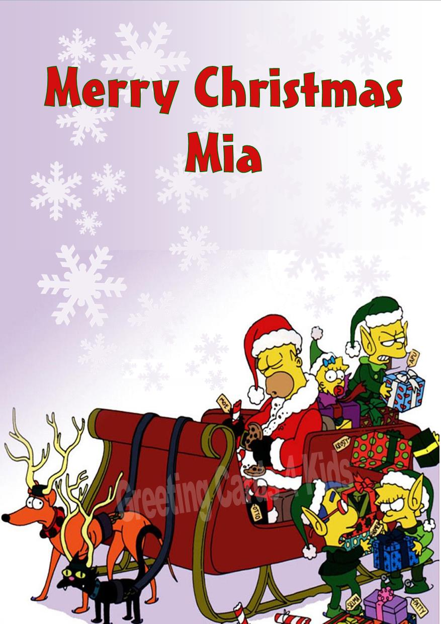 Christmas Greeting Cards Design.Personalised The Simpsons Christmas Card Design 1
