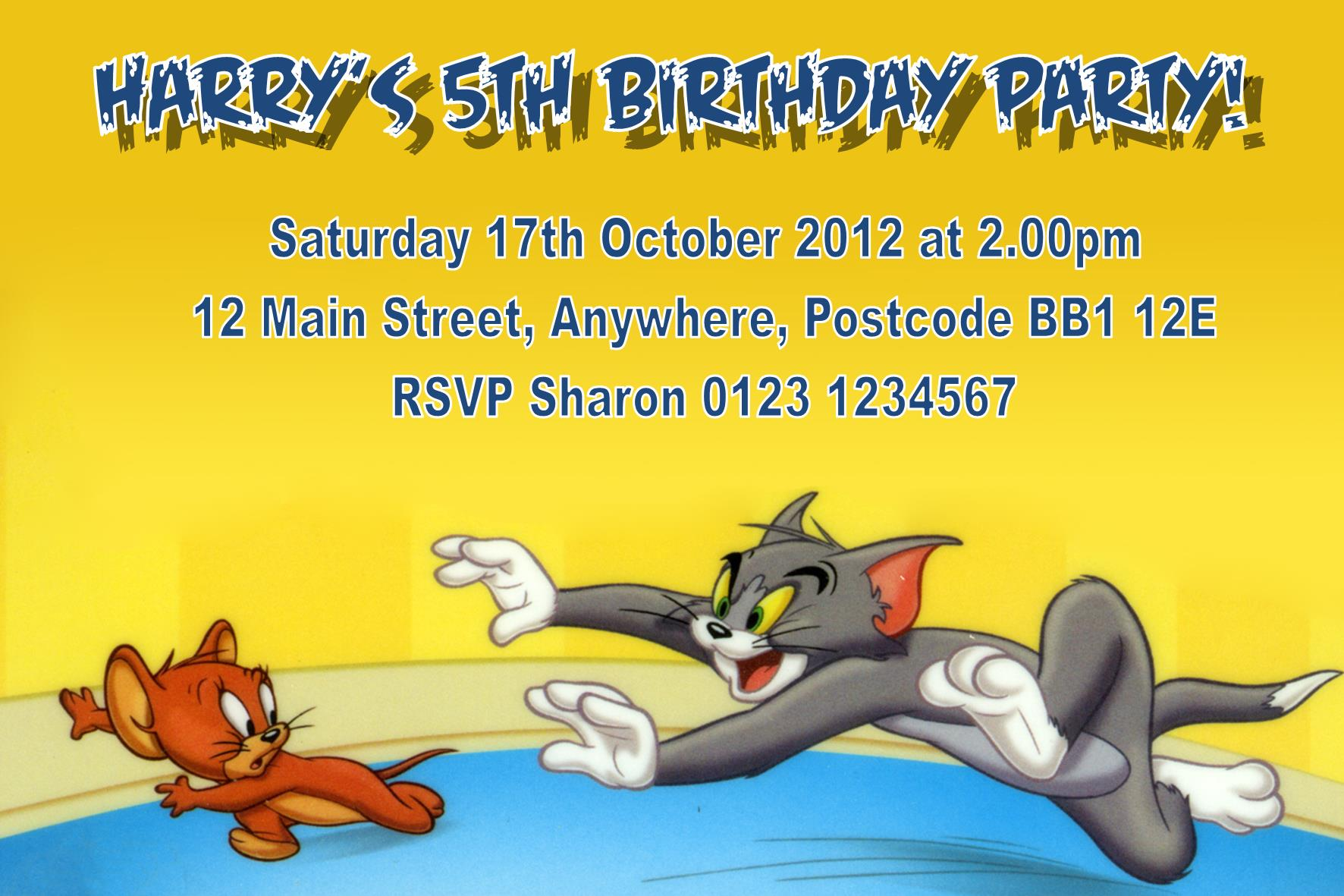 Personalised Tom And Jerry Invitations