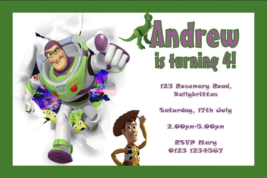 Personalised Toy Story Invitations Design 2