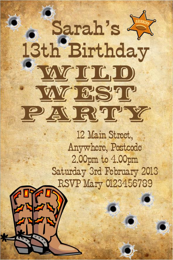 Personalised Wild West Cowboy Theme Invitations