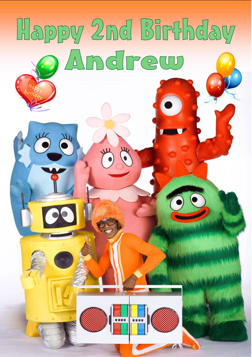 Personalised Yo Gabba Gabba Birthday Card