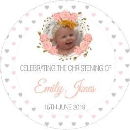 Pink Floral Photo Christening Sticker