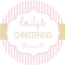 Pink & Gold Stripe Christening Sticker