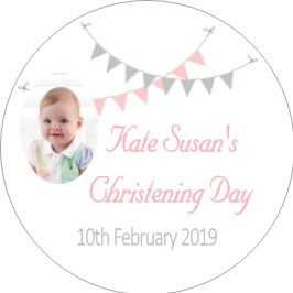 Pink Grey Bunting Photo Christening Sticker