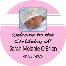 Pink Photo Christening Sticker