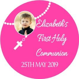 Pink Photo Rosary Beads Communion Sticker