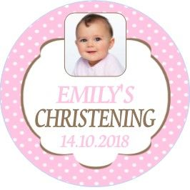 Pink Polka Dot Photo Christening Sticker